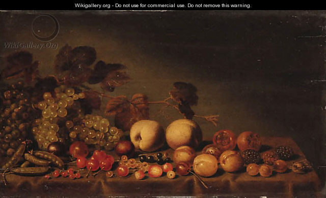 Grapes, plums, medlars, cherries, assorted berries and peas on a draped table - Floris Gerritsz. van Schooten