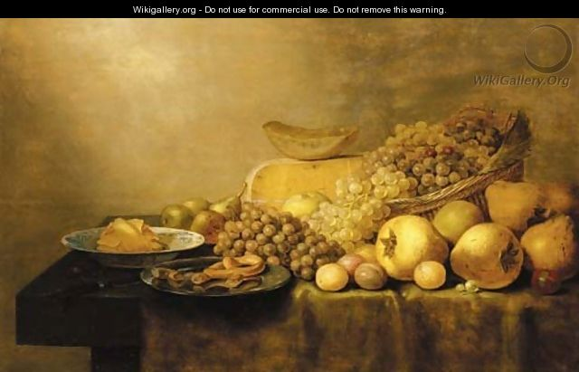 Grapes in a basket, with pears, plums, cheese, butter in a porcelain dish, pastries on a pewter dish and a knife on a partially draped table - Floris Gerritsz. van Schooten