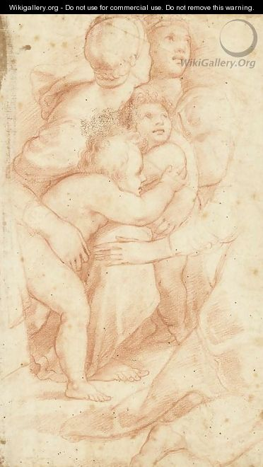 Women comforting two small children, after Raphael - Florentine School