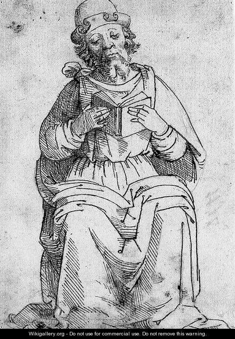A seated figure reading a book - Florentine School