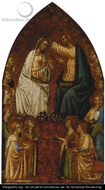 The Coronation of the Virgin with angels in attendance - Florentine School