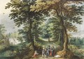 Bandits holding up a traveller on a path in a wood - (after) Abraham Govaerts