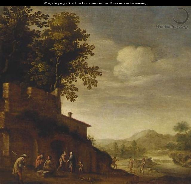 Peasants resting and dancing with a piper before a ruin - (after) Abraham Bloemaert