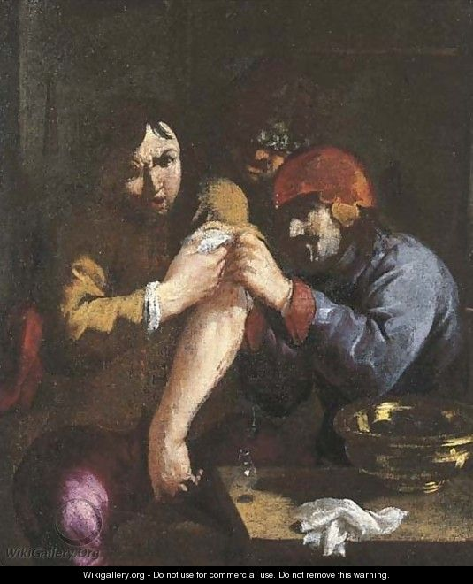 The Sense of Touch A surgeon attending to a man