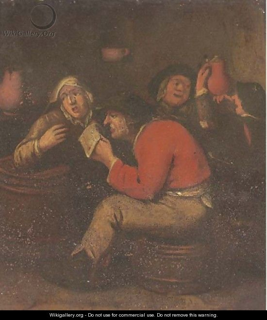 Peasants drinking and merrymaking in an interior - (after) Adriaen Brouwer