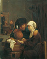 A boor with a serving girl in a tavern interior - (after) Adriaen Brouwer