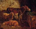 A donkey and sheep in a barn - Filippo Palizzi