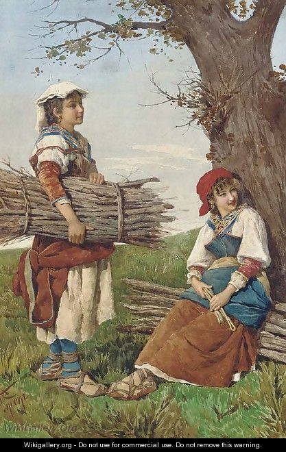 Young faggot gatherers in the Roman campagna - Filippo Indoni
