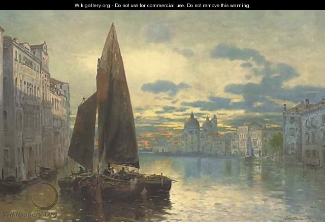 Trading vessels on the Grand Canal at dusk - Fernard Lubich