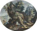 A mountainous landscape with a hermit at prayer - Flemish School