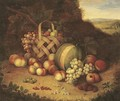 Bunches of grapes and lemons in a basket with peaches - Flemish School