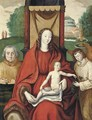 The Virgin and Child with an angel and a donor, a castle beyond - Flemish School