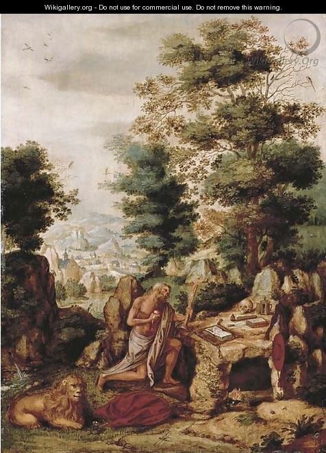 The Penitent Saint Jerome in an extensive landscape - Flemish School