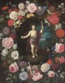 Saint John the Baptist in a floral cartouche - Flemish School