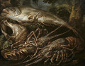 Still-life of two lobsters, a salmon and shells on a forest floor - Felice Boselli Piacenza
