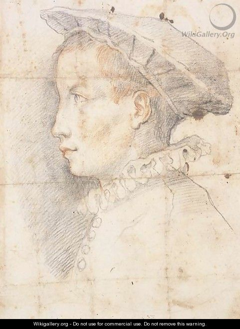 Portrait of a young boy wearing a hat, bust-length, in profile to the left - Federico Zuccaro