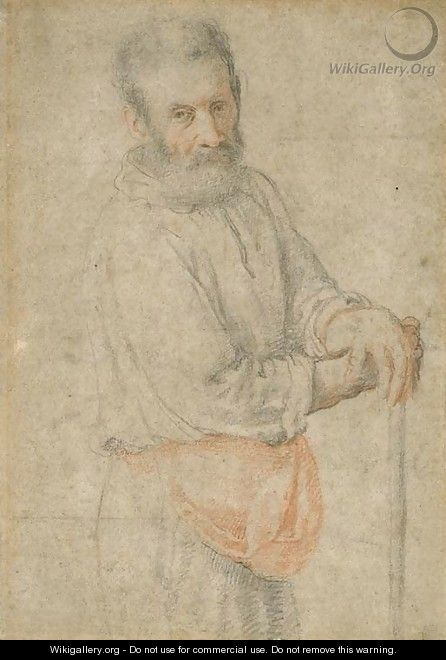Portrait of a bearded man with both arms resting on a stick - Federico Zuccaro