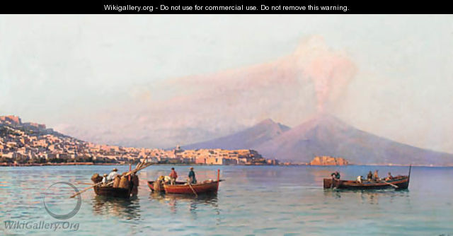 The bay of Naples with Vesuvius in the distance - Friedrich Nerly
