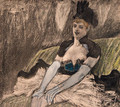 A Woman wearing a revealing Dress, seated in a Cafe - Felicien Rops