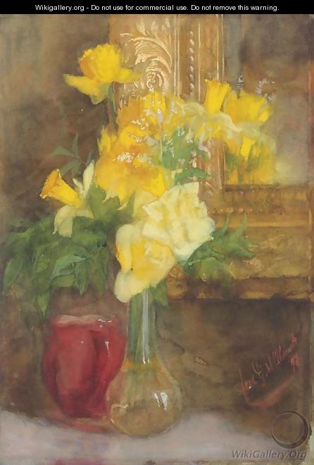 A bouquet of yellow roses and daffodils - Ferdinand Oldewelt