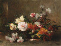 Still life with peonies and roses - Eugene Petit