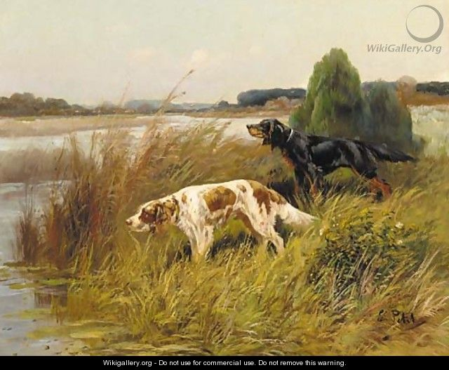 Pointers by the edge of a lake - Eugene Petit