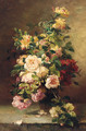 Roses In A Vase On A Stone Ledge - Eugene Henri Cauchois