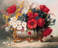 Poppies, Daisies and mixed Summer Flowers in a Roccoco Vase - Eugene Henri Cauchois