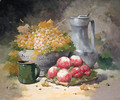Grapes in a Bowl with Peaches and a pewter Jug - Eugene Henri Cauchois
