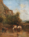 Horses watering, North Africa - Eugene Fromentin