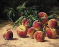 Peaches and foliage - Eugene Claude