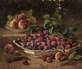 Bowls of plums and peaches in the garden - Eugene Claude