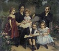 A group portrait of a family in a garden - Eugene Siberdt
