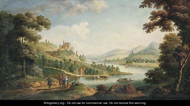 A river landscape with figures on a path and a village beyond - F. Fouquier