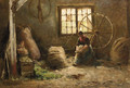 Wolkamster A peasantwoman combing wool - Evert Pieters