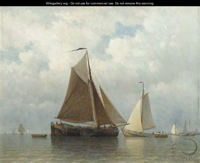 Sailing barges on the IJ, Amsterdam beyond - Everhardus Koster