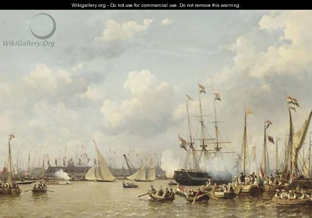 A regatta on the IJ, Amsterdam - Everhardus Koster