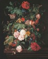 Roses, a lily and convulvulus in a glass vase, with two red admiral butterflies and a caterpillar, on a wooden ledge - Ernst Stuven