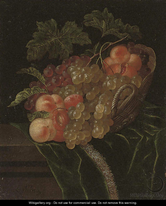 A pomegranate, apricots, grapes and peaches in a wicker basket on a partly-draped stone ledge - Ernst Stuven