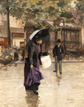 A rainy day in Paris - Etienne-Albert-Eugene Joannon