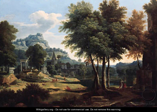 A classical landscape with figures by a river - Etienne Allegrain