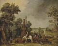 An extensive landscape with a hunting party halting by a classical fountain - Esaias Van De Velde