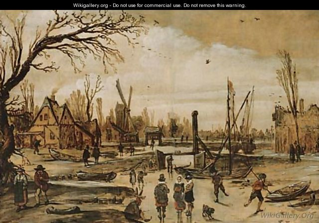 A winter landscape with figures skating on a frozen canal - Esaias Van De Velde