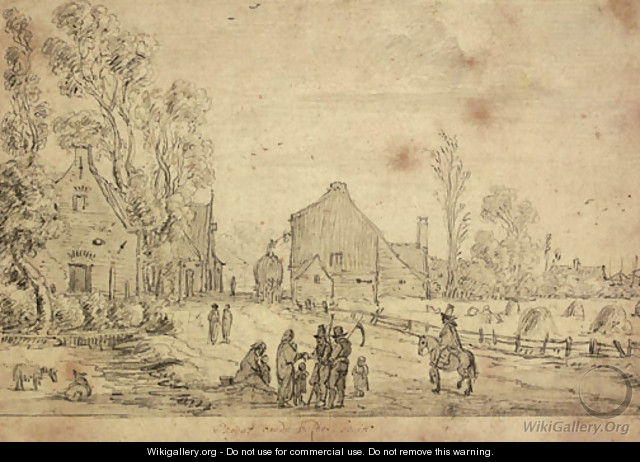 A village scene with harvesters and a horseman on a track, a field with hay stooks seen beyond - Esaias Van De Velde
