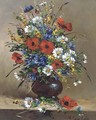 Poppies and daisies and other flowers in a bowl - Eugene Henri Cauchois