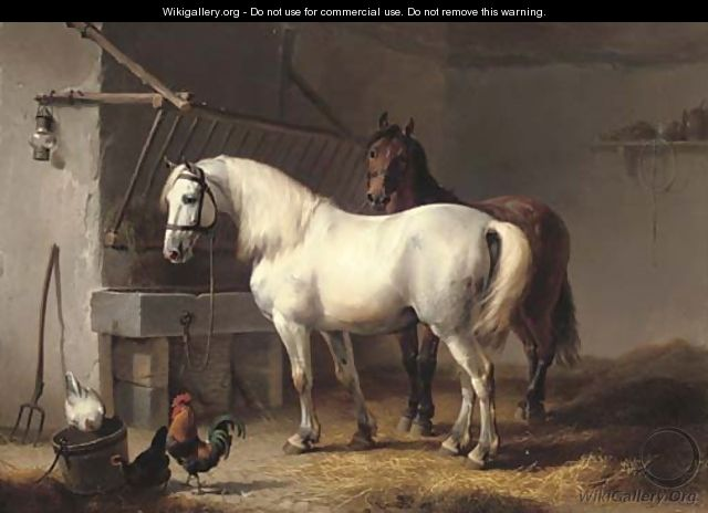 Horses and chickens in a barn interior - Eugène Verboeckhoven