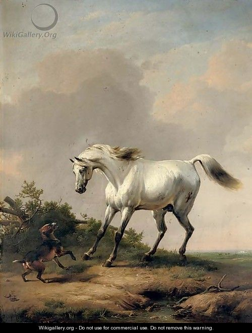 A white horse startled by a dog - Eugène Verboeckhoven
