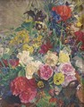 Summer flowers in a basket - English School