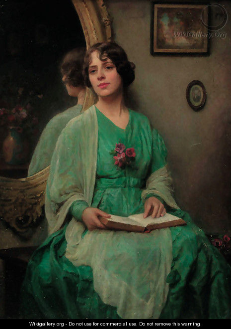 Portrait of a lady, three-quarter-length, in a green dress - English School