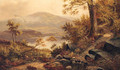 Children On A Wooded Path In A Mountainous Lake Landscape - English School